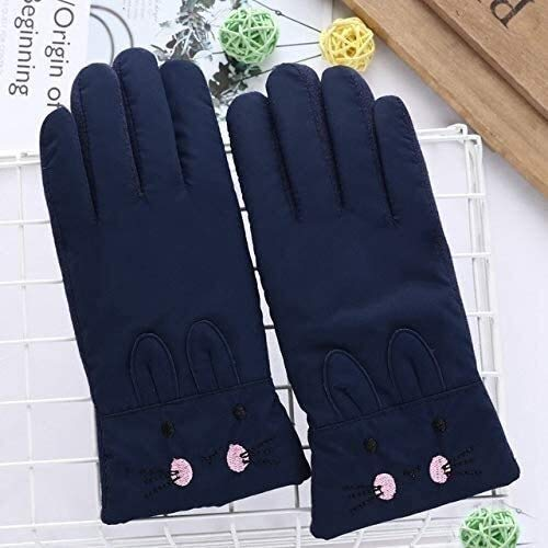 N\A ZT Handschuhe Kinder-Nette Karikatur-Winddichtes Sport-Ski-Handschuhe Junge/Mädchen-Winter-Warmer Plüsch-Innenhandschuh (Color : P C Dark Blue)