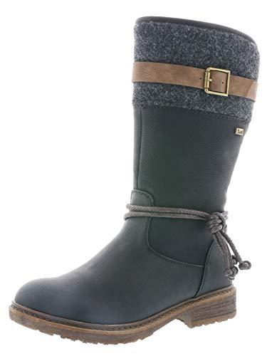 Rieker Damen Klassische Stiefel 94778,Frauen Boots,Reißverschluss,Blockabsatz 3.8cm,schwarz/schwarz/braun/anthrazit, EU 40