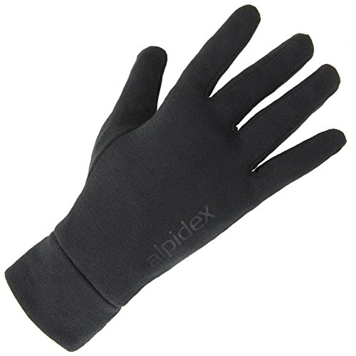 ALPIDEX Unterziehhandschuhe Innenhandschuhe Shaven Sheep leichte Laufhandschuhe dünne warme Liner innen aufgeraut Stretchmaterial athletischer Schnitt, Größe:L, Farbe:Black