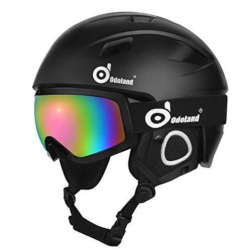 Odoland Skihelm und Skibrille Set Snowboardhelm mit Snowboardbrille für Erwachsene und Kinder, Schneebrille UV 400 Schutz Windwiderstand Snowboard Brille zum Skifahren Bergsteigen Schwarz XL-60-62cm
