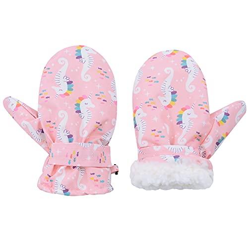 Durio Fäustlinge Kinder Skihandschuhe Wasserdicht Winddicht Warme Winterhandschuhe Ski Handschuhe für Jungen und Mädchen Skifahren Snowboard Radfahren Pink Hippocampus 1-2 Jahre