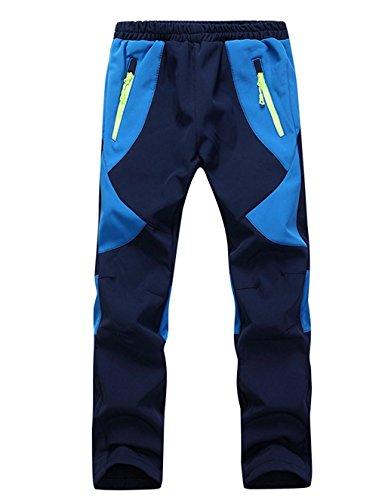 Echinodon Kinder Gefütterte Hose Softshellhose Winddicht Wasserabweisend Atmungsaktiv Warm Regenhose Skihose Jungen Mädchen Trekkinghose Wanderhose Blau L