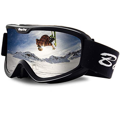 BangLong Skibrill, Snowboard Brille für Brillenträger Herren Damen Schneebrille OTG UV-Schutz Anti Fog Skibrillen für Wintersportarten, Skifahren, Skaten (Black/Gray)