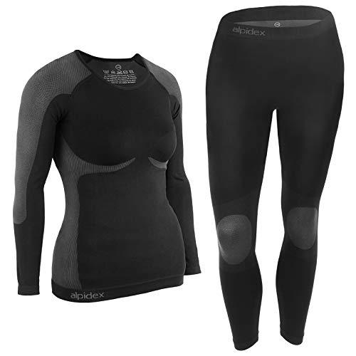 ALPIDEX Damen Funktionswäsche Thermounterwäsche Skiunterwäsche - atmungsaktiv, wärmend und schnell trocknend, Größe:S/M, Farbe:Black-Grey