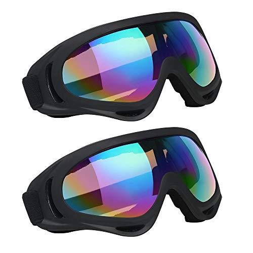 Vicloon Skibrille, 2 Stück Ski Snowboard Brille, UV-Schutz Goggle, Motocross Brille Helmkompatible, Anti-Fog Skibrille, Sportbrille für Skifahren Motorrad Fahrrad Skaten, Unisex