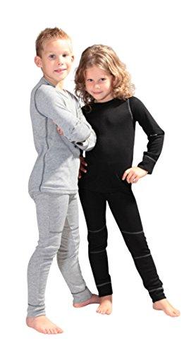 icefeld - atmungsaktives Thermo-Unterwäsche Set für Kinder - warme Wäsche aus langärmligem Oberteil + Langer Unterhose: schwarz in Größe 122/128