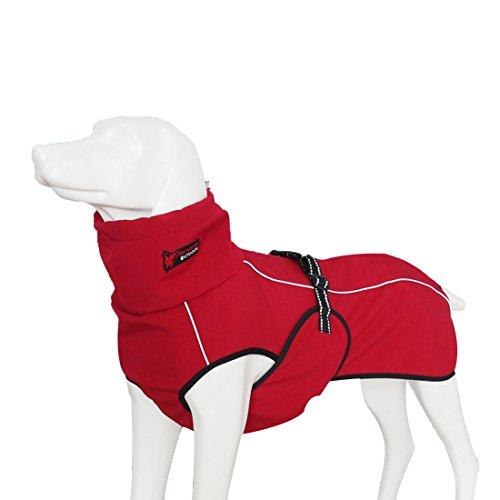 GWELL Hund Hundejacke Wasserdicht Fleece gefüttert Regenjacke Winterjacke Funktion Weste mit D-Ringe Gurt für Mittelgroßen Großen Hund Winter Herbst Frühling Rot XL