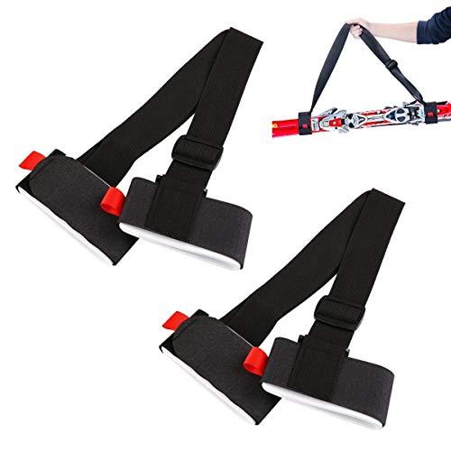 JZK 2 x Schwarz Tragegurt für Snowboard Ski Verstellbare Ski-Schultergurt-Tragegurte mit Bandschlaufe für Kinder und Erwachsene