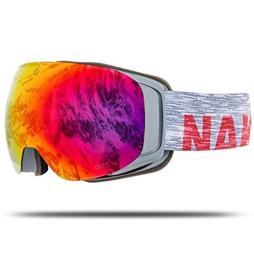 NAKED Optics Skibrille Snowboard Brille für Damen und Herren - Verspiegelt mit Magnet-Wechselsystem – Ski Goggles for Men and Women (Melange, ohne Schlechtwetterglas)