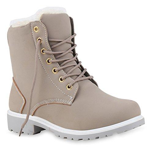Warm Gefütterte Worker Boots Damen Outdoor Stiefeletten Robust 124554 Grau Camargo 40 Flandell