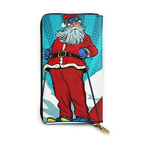 Skier in den Bergen Santa Claus Damen Portemonnaie, lang, Echtleder, Kreditkartenetui