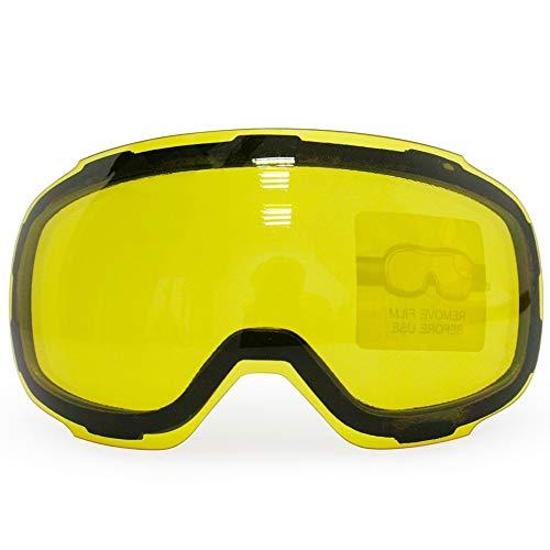 zhenxin Skibrille Gelb graced magnetische Linse für Skibrillen Anti-Nebel Sphärische Skibrille Nacht Ski objektiv