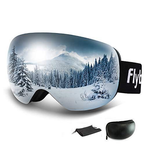 Flyboo Skibrille Snowboard Brille Große Sphärische Rahmenlose auch für Brillenträger Herren und Damen Doppel-Objektiv OTG Ski Goggles 101% UV-Schutz Anti-Nebel und Helmkompatib