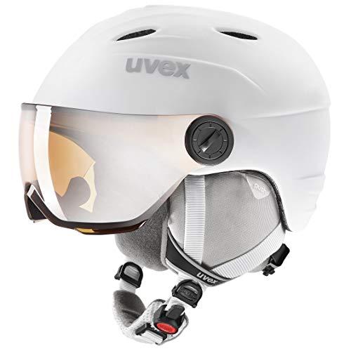 uvex Unisex Jugend junior Visor pro Skihelm, White, 52-54 cm