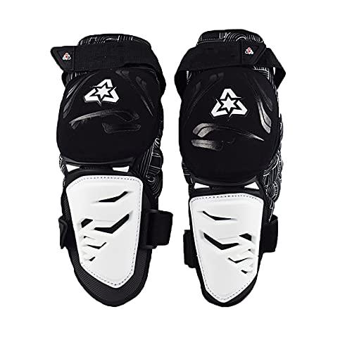 VOMI Kinder & Erwachsene Knieprotektor Enduro Weiß, Knieschutz Motorrad Schienbeinschoner Knieschoner Knee Guard Einstellbar für MTB Motocross Race Fahrrad Skateboard Radrennen Ski