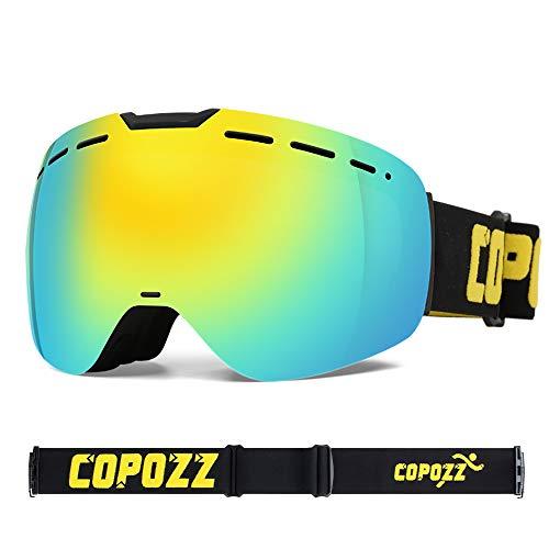 COPOZZ Skibrille, H1 OTG magnetische Snowboard Schneebrille mit Doppel-Objektiv Anti Fog Austauschbar Linse UV400 Schutz Helm Kompatibel Sonnenbrille für Männer Frauen Damen Teen