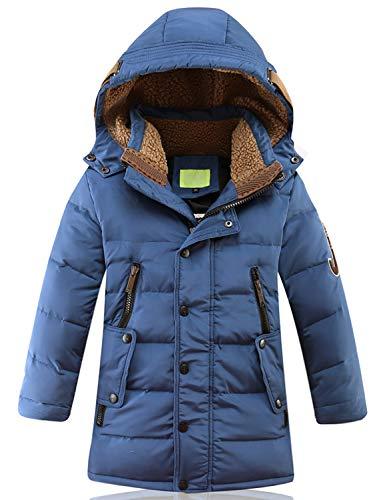 SEEU Kinder Daunenjacke Isolationsjacke Baumwolle Gefütterte Jacken Steppmantel Outerwear Mit Reißverschluss Blau 130