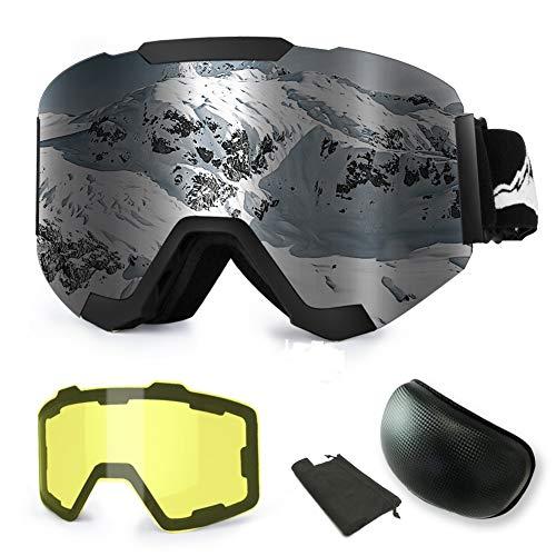 WLZP Skibrille, Magnetische Austauschbare Skibrille mit 2 Modelling-Objektiv, Anti-Beschlag UV400 Schutz Winter Schneesport Snowboard-Schutzbrille mit Austauschbaren