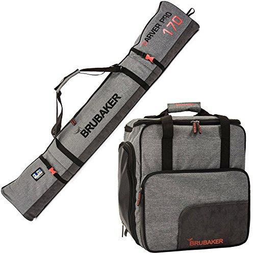 Brubaker Kombi Set Carver Performance - Skisack 190 cm und Skischuhtasche für 1 Paar Ski + Stöcke + Schuhe + Helm Schwarz Grau