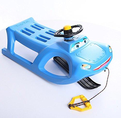 Unbekannt Schlitten Kinderschlitten Rodel aus Kunststoff mit Zugseil und Lenkung Zigi-Zet Control 2 Farben (Blau)