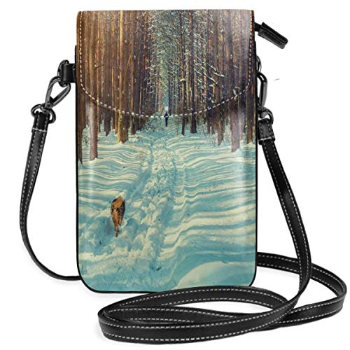 Women Small Cell Phone Purse Crossbody,Skier Figure Running Dog In The Forest Winter Season Snow And Dead Nature Landscape