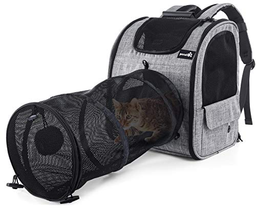 Pecute Rucksäck mit Tunnel, Haustierträger Hundetasche Katzentasche mit Pluschball Design, Atmungsaktivem Netz und Abnehmbarem Kissen, Transporttasche für kleine Hunde, Katzen und Kleintiere bis 6 kg
