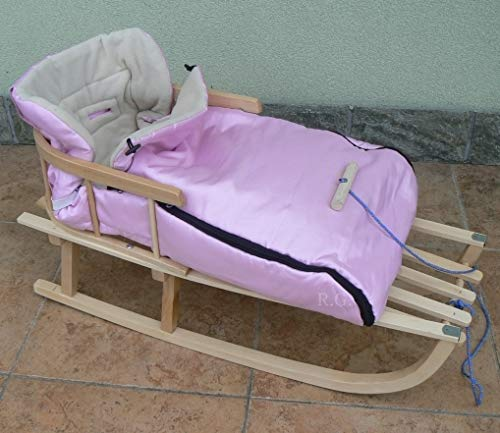 Holzschlitten mit Rückenlehne mit Winterfußsack 90cm 10 Farben Schlitten aus Holz (Rosa)