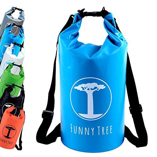 Funny Tree Drybag. (20L blau) Wasserdichter (IPx6), verbesserter DryBag, schwimmfähig. Inklusive wasserdichter Handy-Hülle | Stand Up Paddle | Wassersport | Ski-Fahren | Snow-Boarden | Tauchen