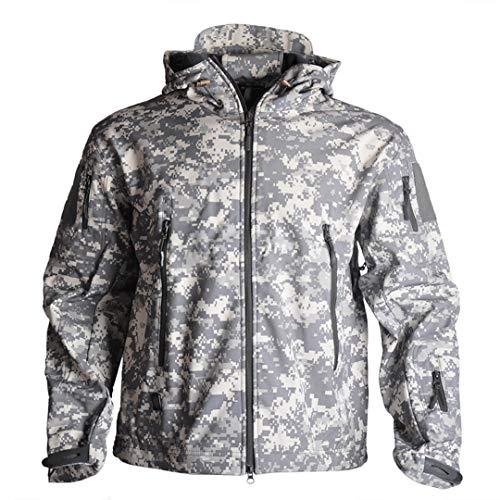 JOSCJKS Wanderjacken Haifischhaut Softshell Kleidung Taktische Jacke Herren Windjacke Militär Feldjacke ACU-Camouflage M for 60-70kg