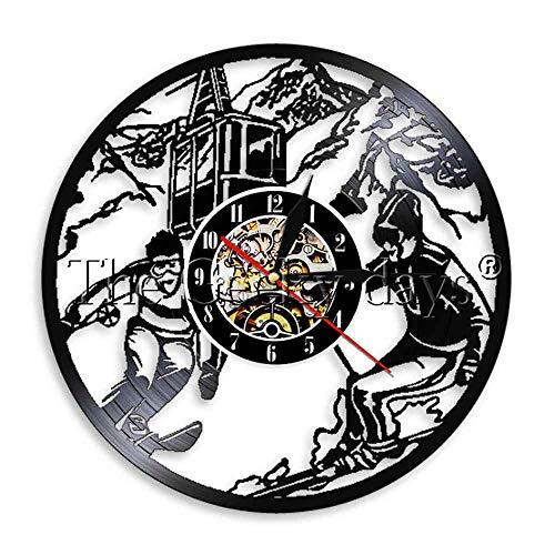 Vinyl Wanduhr Wintersport Ski Uhr aus echtem Rekordwerk Silent Snow Mountain Skifahrer Raumdekor Wandkunst Uhr-Without_LED 12inch