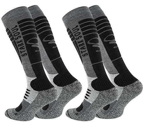 STARK SOUL Ski Funktionssocken, Wintersport Socken mit Spezial Polsterung, 2 Paar (43/46, grau-schwarz)