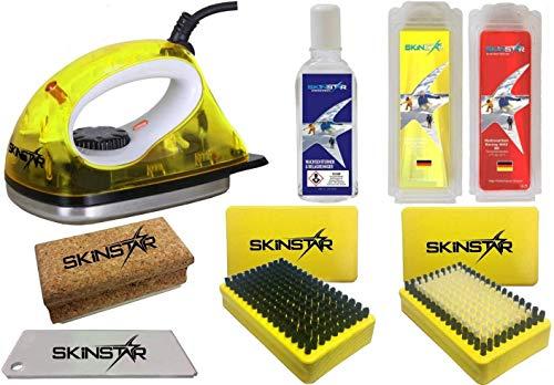 SkinStar Starter Ski Wachs Set, Wachsbügeleisen Bürste Hydrocarbonwachs 8-teilig