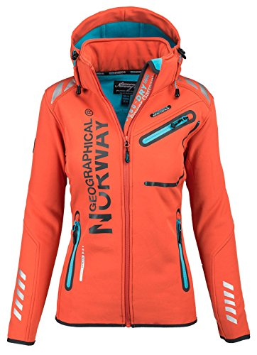 Geographical Norway Damen Softshell Funktions Outdoor Regen Jacke Sport [GeNo-24-Orange-Gr.L]