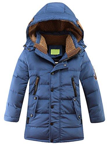 Vogstyle Jungen Winterjacke mit Kapuze Jacken Blouson Kinder Kapuzenparka Warm Blouson Wintermantel, Blau, 130-140 (Herstellergröße: 140)