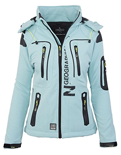 Geographical Norway Damen Softshell Funktions Outdoor Regen Jacke Sport [GeNo-20-Aqua-Gr.L]