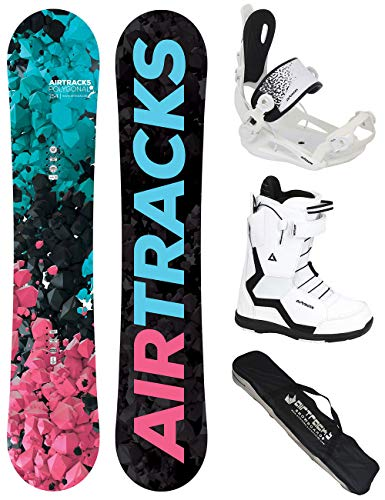 Airtracks Damen Snowboard Set - Board Polygonal 138 - Softbindung Master - Softboots Savage W 37 - SB Bag