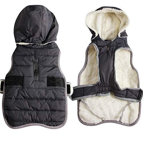 JoyDaog Fleece Hund Hoodie für kleine Hunde warme Welpenjacke für kalten Winter wasserdichte Hundemäntel mit Kapuze,Grau XS