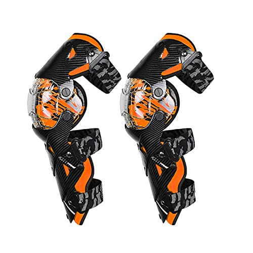 VOMI Knie Protektor Motocross, Knieschoner MTB Enduro Motorrad Knieschützer Erwachsene Unisex Einstellbar Flexibel Knieprotektor für Race Fahrrad Skateboard Radrennen Ski, Schwarz Orange