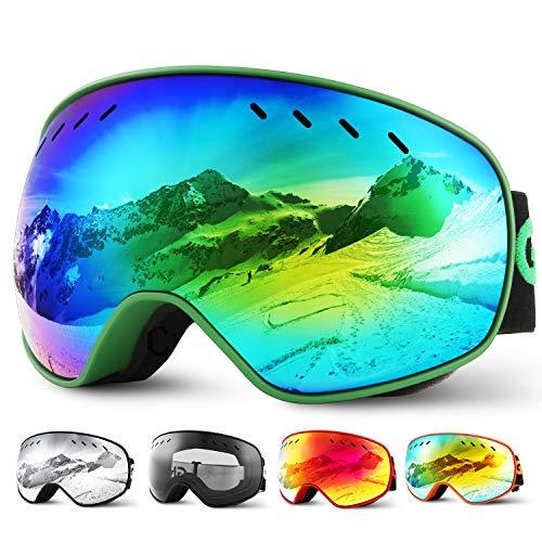 Glymnis Skibrille Snowboard Brille Schneebrille Doppel-Objektiv Schutzbrillen UV-Schutz Anti-Nebel Winddicht für Skifahren Skaten Damen und Herren Jungen und Mädchen mit Reißverschlussbox Grün