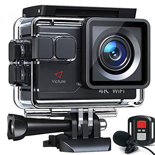 Victure AC700 Action Cam 4K 20MP wasserdichte 40M Unterwasserkamera WiFi helmkamera mit EIS Sensor, 2.4G Fernbedienung, externem Mikrofon und Montage Zubehör Kit