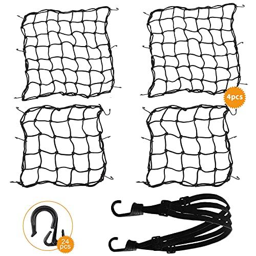 UIHOL Motorrad Gepäcknetz Fahrrad Netz 4 Stück, 2 Spannnetz (30 * 30cm) + 2 Sicherungsnetz (40 * 40cm) mit 1 Spanngurt und 24 Kunststoffhaken + 24 Metallhaken für Befestigung Helm Gepäckband Dehnbar