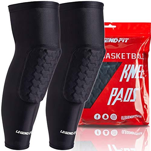 COOLOMG Knieschoner Kompression Beinstulpe Knieprotektor gepolstert für Herren Damen Jugend Basketball Fußball Volleyball Joggen Schwarz L