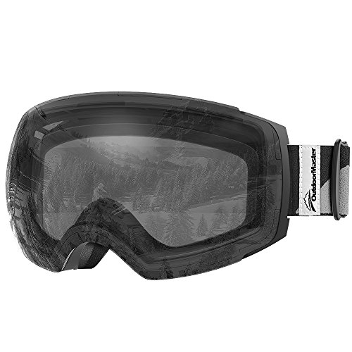 OutdoorMaster Skibrille Pro für Damen&Herren, Snowboardbrille mit magnetisch wechselsystem, OTG Schneebrille, Ski Goggles(Schwarz Gurt VLT 99% Klare Gläser&Schutzhülle)