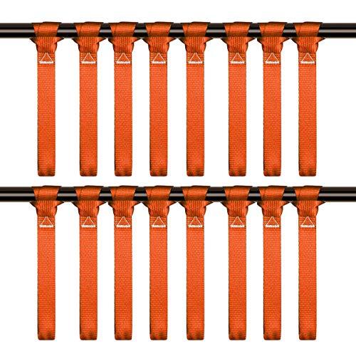 LITTOU 1' x 12' Doppelschlaufen Zurrschlaufen Schlaufen Spanngurte für Motorrad, ATV, UTV, Fahrrad - 2300 Lbs -16 Stück, Orange