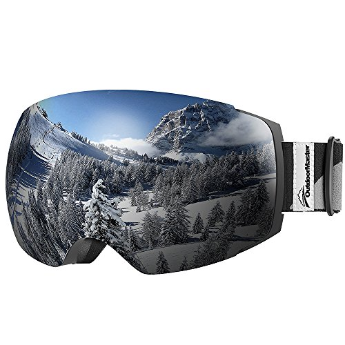 OutdoorMaster Ski & Snowboard Brille mit Abnehmbaren zweilagigen Anti-Nebel Linsen (Lichtdurchlässigkeit 10% Grau Linse)