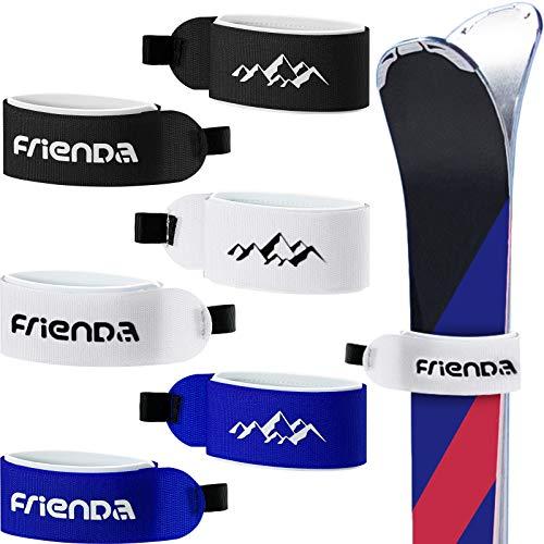 6 Stück Ski Tragegurt Verschlussband Klettband Verstellbare Ski Verpacken Krawatten für Familien Weihnachten (Schwarz, Blau, Weiß)