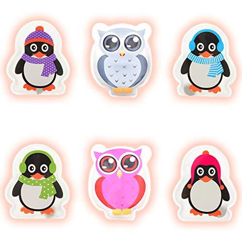Hook Taschenwärmer handwaermer Kinder handwärmer wiederverwendbar zum knicken 2er-Set Colorful Eule und 4er-Set Penguins Handtaschenwärmer Wärmeknickkissen Heizpad
