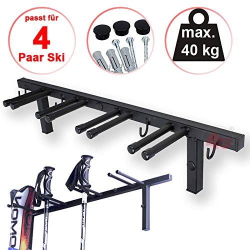 4U Skihalter Wand-Skihalter für 4 Paar Ski, mit 4 Haken Ski Skiträger Skistöcke Nordic Walking Stöcke Wandhalter Ski Gerätehalter
