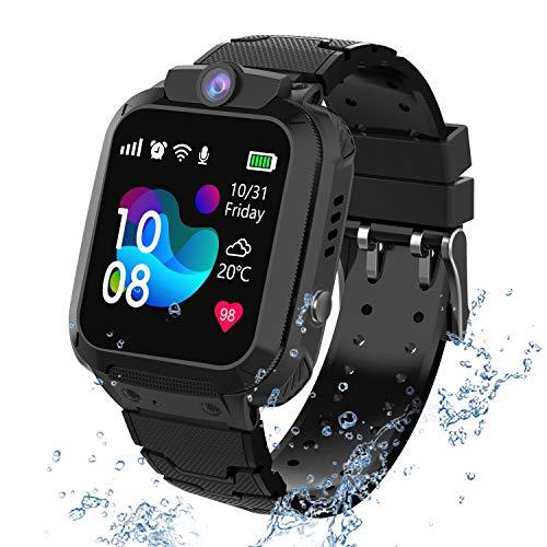 PTHTECHUS Wasserdichtes Kinder Smartwatch Telefon - Touchscreen Kinder Spiel Smartwatch, Anruf Voice Chat SOS Digitalkamera Wecker, für Jungen und Mädchen Geschenk (S12-Black)