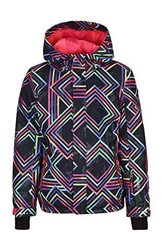 Killtec Skijacke Mädchen Gizela Allover Jr - Funktionsjacke mit Kapuze und Schneefang - Winterjacke Kinder mit 10.000 mm Wassersäule - wasserdicht, schwarz, 140